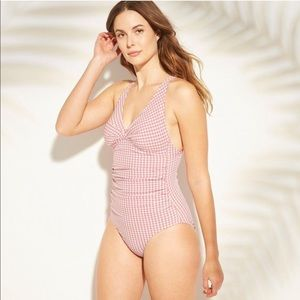 Kona Sol | Pink Gingham One Piece Ruched Swimsuit